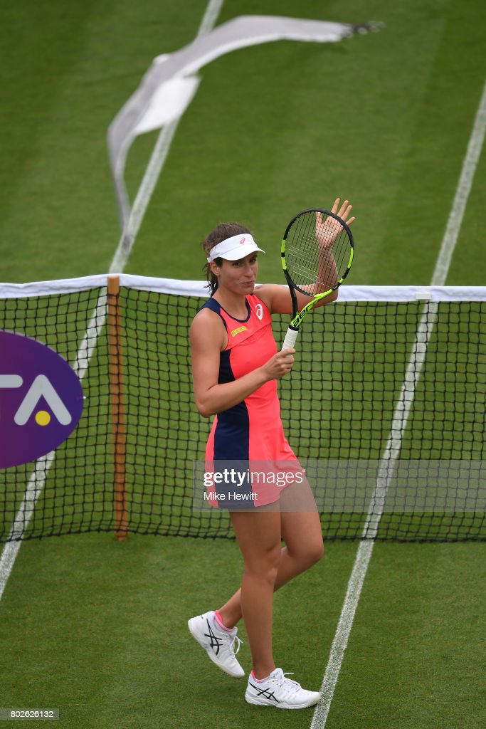 Johanna Konta of GBR celebrates victory over Sorana Cirstea of Romania during Day 4 of the Aegon International Eastbourne tournament at Devonshire Park on June 28, 2017 in Eastbourne, England.