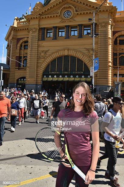 Johanna Konta of GBR poses in front of Flinders Street Station during day seven of the 2016 Australian Open at Melbourne Park on January 24 2016 in...
