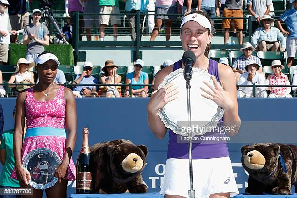 Johanna Konta of Great Britain addresses the crowd with the trophy after defeating Venus Williams of the United States in the final during day seven...