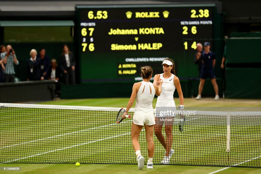 Johanna Konta of Great Britain and Simona Halep of Romania shakes hands after the Ladies Singles quarter final match on day eight of the Wimbledon Lawn Tennis Championships at the All England Lawn Tennis and Croquet Club on July 11, 2017 in London, England.