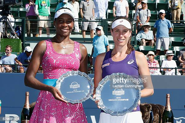 Johanna Konta of Great Britain and Venus Williams of the United States pose for photos after the final during day seven of the Bank of the West...