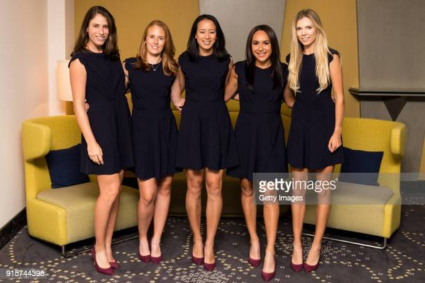 Johanna Konta of Great Britain Anna Smith of Great Britain Anne Keothavong Great Britain head coach Heather Watson of Great Britain and Katie Boulter...