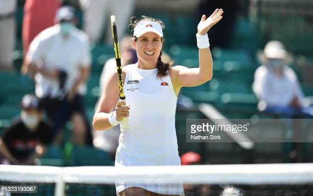 Johanna Konta of Great Britain applauds the crowd after she beats Nina Stojanovic of Serbia during the Viking Open women's semi-finals match on day...