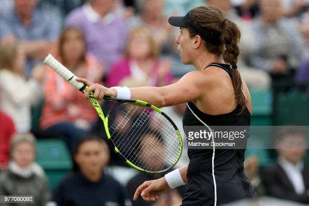 Johanna Konta of Great Britain argues a call during her women's singles final match against Ashleigh Barty of Australia on Day Nine of the Nature...