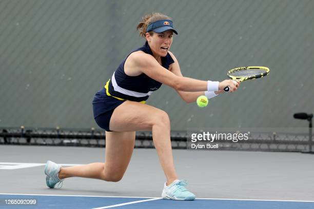 Johanna Konta of Great Britain attempts a volley during her match against Marie Bouzkova of the Czech Republic during the Top Seed Open - Day 1 at...