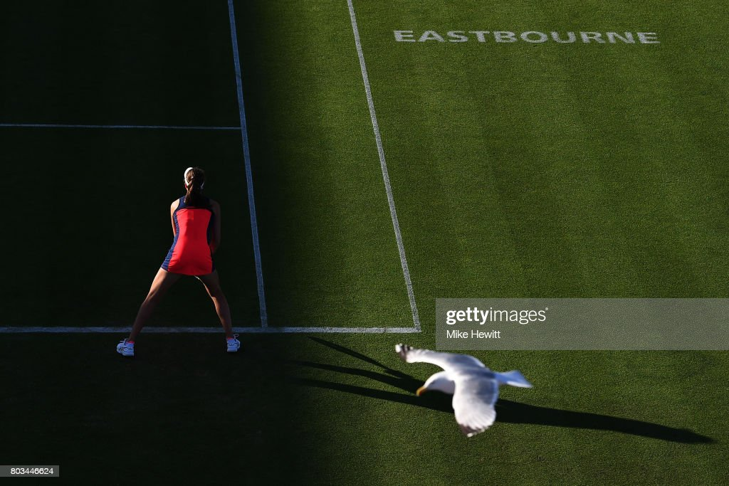 Johanna Konta of Great Britain awaits a serve during the ladies singles quarter final match against Angelique Kerber of Germany on day five of the Aegon International Eastbourne at Devonshire Park Lawn Tennis Club on June 29, 2017 in Eastbourne, England.