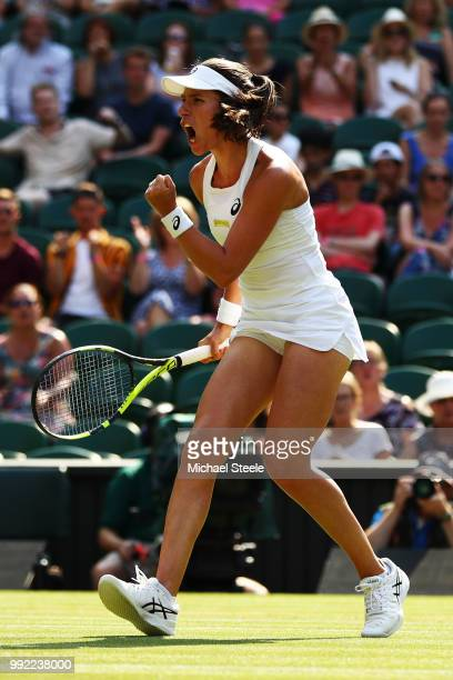Johanna Konta of Great Britain celebrates a point against Dominika Cibulkova of Slovakia during their Ladies' Singles second round match on day four...