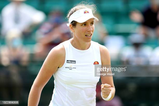 Johanna Konta of Great Britain celebrates after winning a point against Kateryna Kozlova during the women's singles match on day six of the Viking...