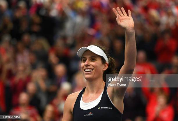 Johanna Konta of Great Britain celebrates after winning during Day Three of the Fed Cup Europe and Africa Zone Group I at the University of Bath on...
