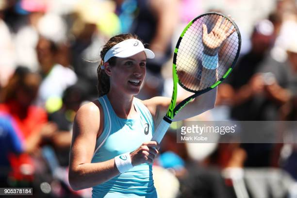 Johanna Konta of Great Britain celebrates after winning her first round match against Madison Brengle of the United States on day two of the 2018...