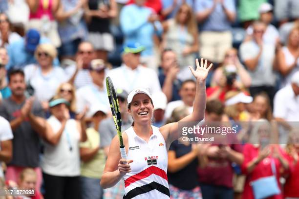 Johanna Konta of Great Britain celebrates after winning her Women's Singles fourth round match against Karolina Pliskova of the Czech Republic on day...