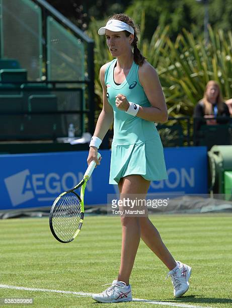 Johanna Konta of Great Britain celebrates as she wins her first round match during WTA Aegon Open Nottingham Day 1 at Nottinghan Tennis Centre on...