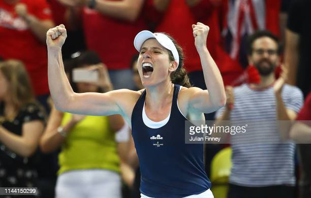 Johanna Konta of Great Britain celebrates at match after defeating Yulia Putintseva of Kazakhstan during the Fed Cup World Group II PlayOff match...