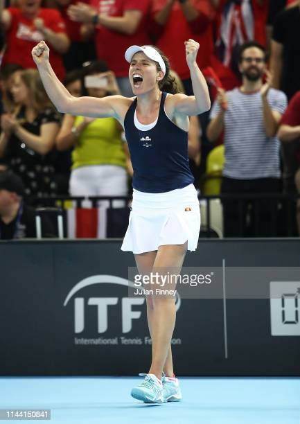 Johanna Konta of Great Britain celebrates at match after defeating Yulia Putintseva of Kazakhstan during the Fed Cup World Group II Play-Off match...