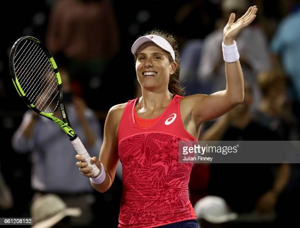 Johanna Konta of Great Britain celebrates defeating Venus Williams of USA in the semi finals at Crandon Park Tennis Center on March 30, 2017 in Key...