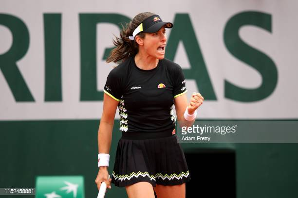 Johanna Konta of Great Britain celebrates during her ladies singles second round match against Lauren Davis of The United States during Day four of...