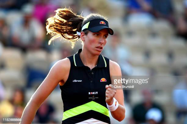 Johanna Konta of Great Britain celebrates during her ladies singles third round match against Victoria Kuzmova of Slovakia during Day six of the 2019...