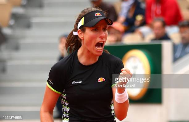 Johanna Konta of Great Britain celebrates during her ladies singles semifinal match against Marketa Vondrousova of The Czech Republic during Day...