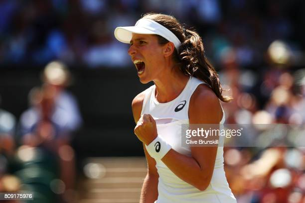 Johanna Konta of Great Britain celebrates during the Ladies Singles second round match against Donna Vekic of Croatia on day three of the Wimbledon...