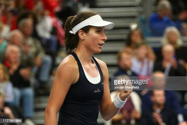 Johanna Konta of Great Britain celebrates following her victory in the round robin match against Dalila Jakupovic of Slovenia during Day One of the...