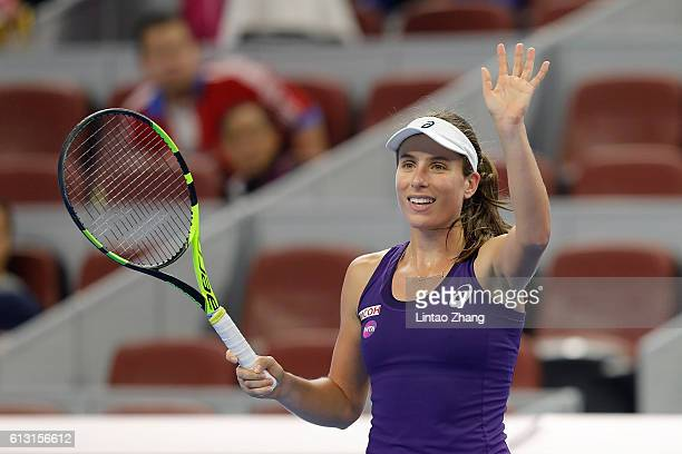 Johanna Konta of Great Britain celebrates her win over Zhang Shuai of China during the Women's Singles Quarterfinals match on day seven of the 2016...
