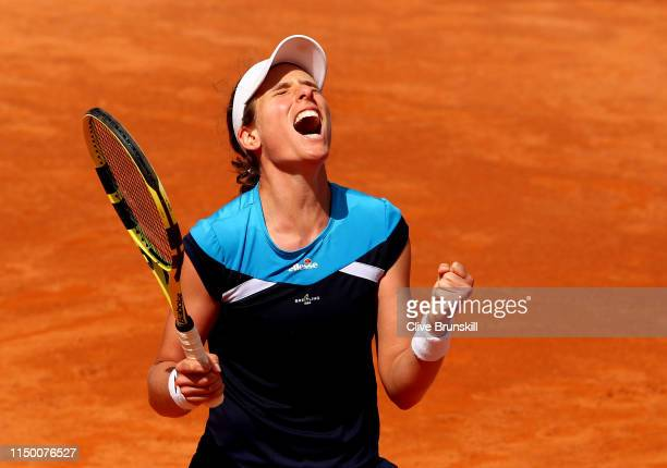 Johanna Konta of Great Britain celebrates match point against Kiki Bertens of the Netherlands in their semifinal match during day seven of the...