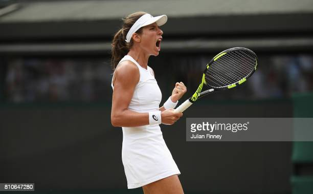Johanna Konta of Great Britain celebrates match point and victory after the Ladies Singles third round match against Maria Sakkari of Greece on day...