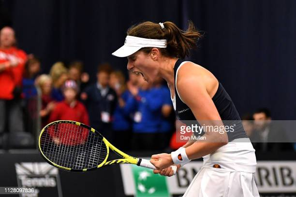 Johanna Konta of Great Britain celebrates match point during her Europe/Africa Group A match against Maria Sakkari of Greece on Day Two of the Fed...