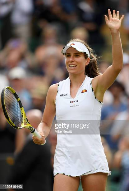 Johanna Konta of Great Britain celebrates match point in her Ladies' Singles first round match against Ana Bogdan of Romania during Day two of The...