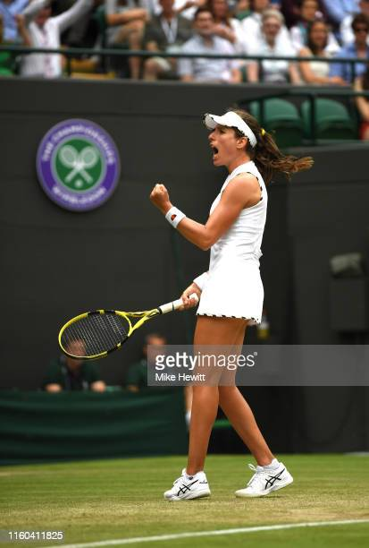 Johanna Konta of Great Britain celebrates match point in her Ladies' Singles third round match against Sloane Stephens of The United States during...