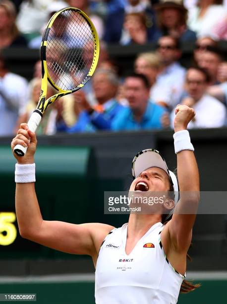 Johanna Konta of Great Britain celebrates match point in her Ladies' Singles fourth round match against Petra Kvitova of The Czech Republic during...