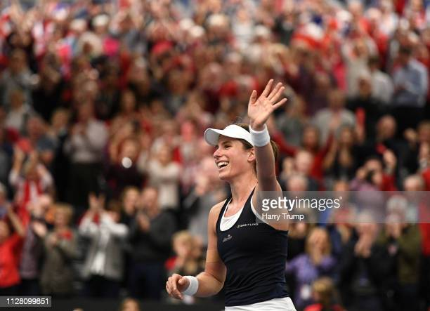 Johanna Konta of Great Britain celebrates victory during Day Two of the Fed Cup Europe and Africa Zone One Group I at University of Bath on February...