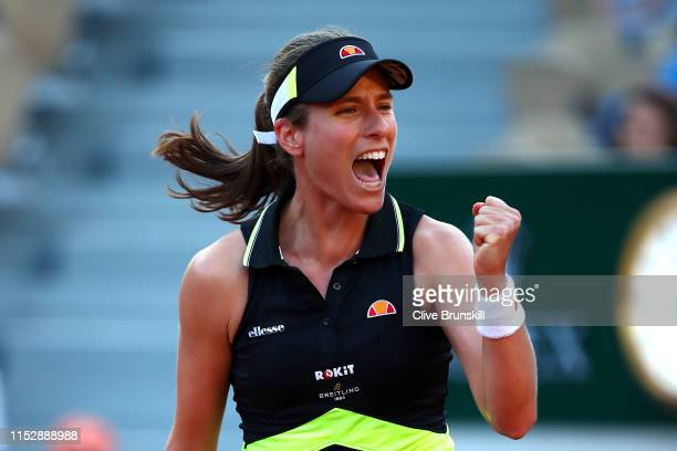 Johanna Konta of Great Britain celebrates victory during her ladies singles third round match against Victoria Kuzmova of Slovakia during Day six of...