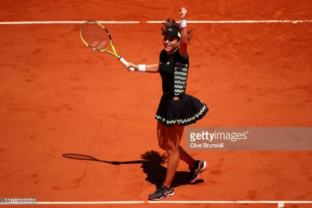 Johanna Konta of Great Britain celebrates victory during her ladies singles fourth round match against Donna Vekic of Croatia during Day eight of the...
