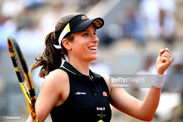 Johanna Konta of Great Britain celebrates victory during her ladies singles quarter-final match against Sloane Stephens of The United States during...