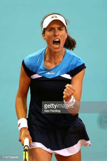 Johanna Konta of Great Britain celebrates victory during her match against Alison Riske of The United States during day two of the Mutua Madrid Open...