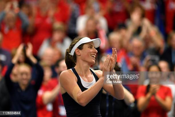 Johanna Konta of Great Britain celebrates victory during the Europe/Africa Group A match against Anna Bondar of Hungary during day three of the Fed...