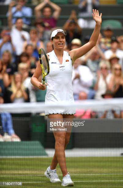 Johanna Konta of Great Britain celebrates victory in her Ladies' Singles third round match against Sloane Stephens of The United States during Day...