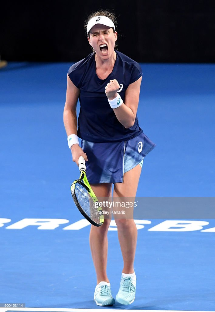 Johanna Konta of Great Britain celebrates victory in her match against Aija Tomljanovic of Croatia during day three of the 2018 Brisbane International at Pat Rafter Arena on January 2, 2018 in Brisbane, Australia.
