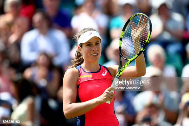 Johanna Konta of Great Britain celebrates victory in her quarterfinal match against Ashleigh Barty of Australia during day five of the Aegon Open...