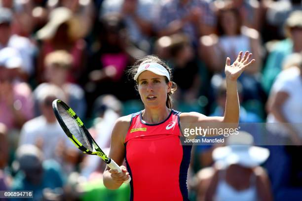 Johanna Konta of Great Britain celebrates victory in her semifinal match against Magdalena Rybarikova of Slovakia during day six of the Aegon Open...