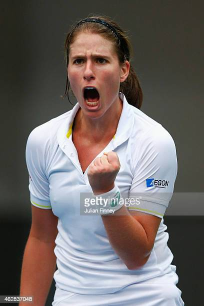 Johanna Konta of Great Britain celebrates winning a game against Lesia Tsurenko of Ukraine during day three of the Fed Cup/Africa Group One tennis at...