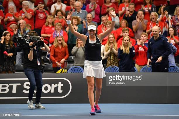 Johanna Konta of Great Britain celebrates winning her Europe/Africa Group A match against Maria Sakkari of Greece on Day Two of the Fed Cup 2019 at...
