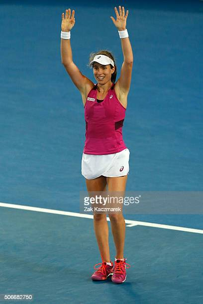 Johanna Konta of Great Britain celebrates winning her fourth round match against Ekaterina Makarova of Russia during day eight of the 2016 Australian...