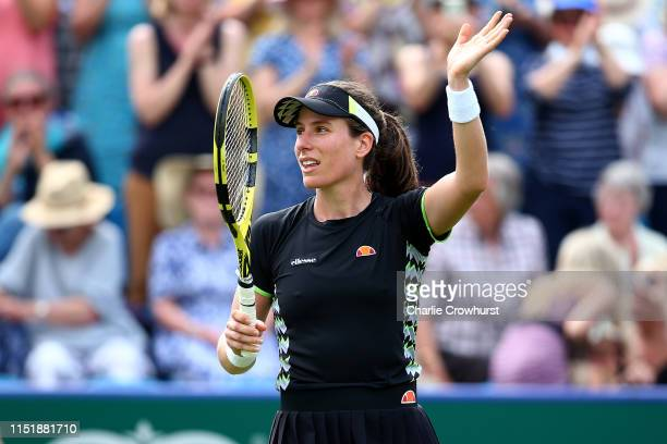 Johanna Konta of Great Britain celebrates winning her womens singles match against Maria Sakkari of Greece during day two of the Nature Valley...