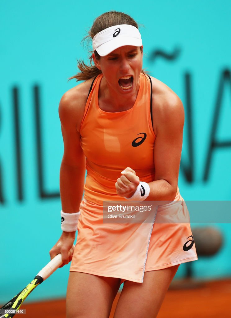 Johanna Konta of Great Britain celebrates winning the first set against Magdalena Rybarikova of Slovakia in their first round match during day two of the Mutua Madrid Open tennis tournament at the Caja Magica on May 6, 2018 in Madrid, Spain.