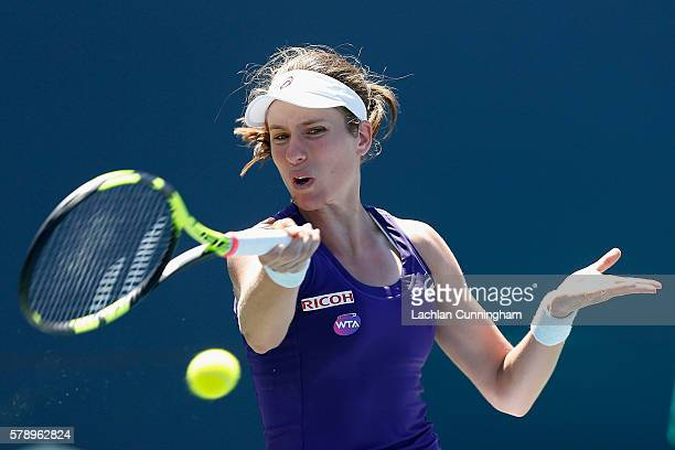 Johanna Konta of Great Britain competes against Saisai Zheng of China during day five of the Bank of the West Classic at the Stanford University...