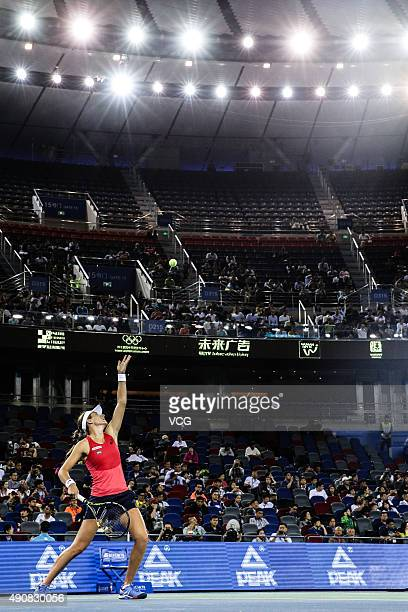 Johanna Konta of Great Britain competes against Venus Williams of the United States in quarter-finals match during day five of 2015 Dongfeng Motor...