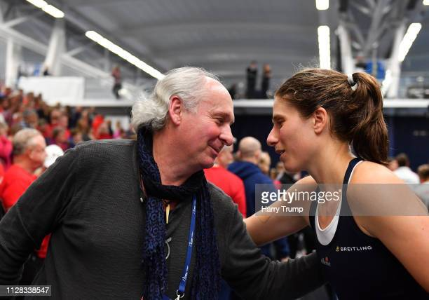 Johanna Konta of Great Britain embraces her father after winning during Day Three of the Fed Cup Europe and Africa Zone Group I at the University of...
