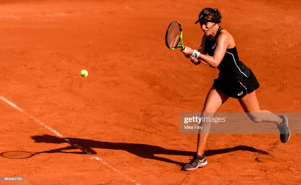 Johanna Konta of Great Britain hits a backhand against Yulia Putintseva of Kazakhstan in the first round of the French Open at Roland Garros on May 27, 2018 in Paris, France.